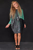 Splatter patchwork knit dress