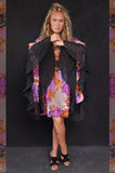 Purple and Orange Flower dress/Pleated sleeves