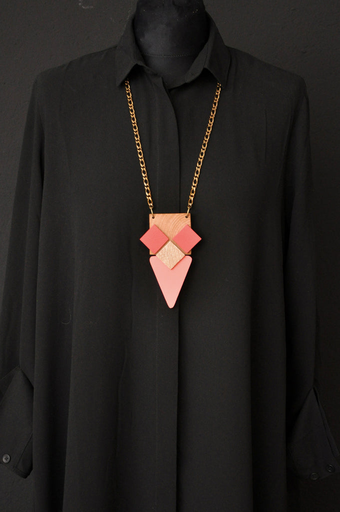 WOOD ANA Necklace Peach/Gold