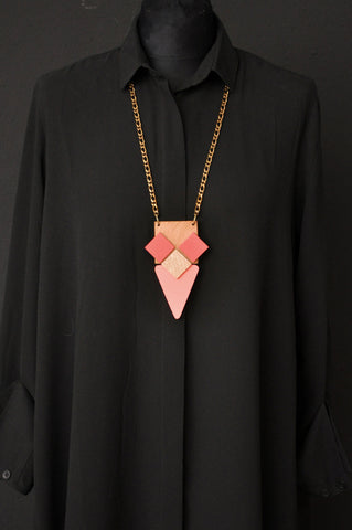 WOOD ANA Necklace Mint/Peach/Gold
