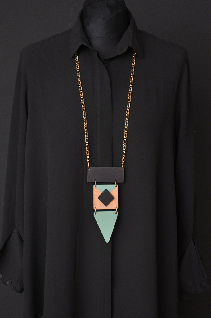 WOOD INA Necklace Mint/Black