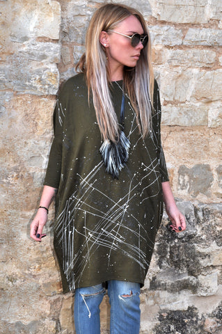 Splatter patchwork knit dress black/grey/beige