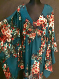 Kimono dress Flowers Bluegreen