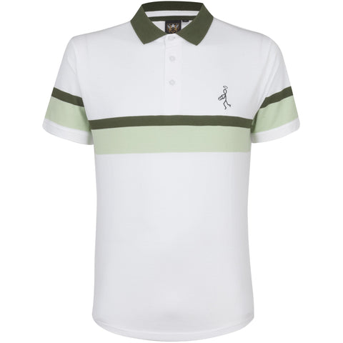 Jacquard Tipped Polo White
