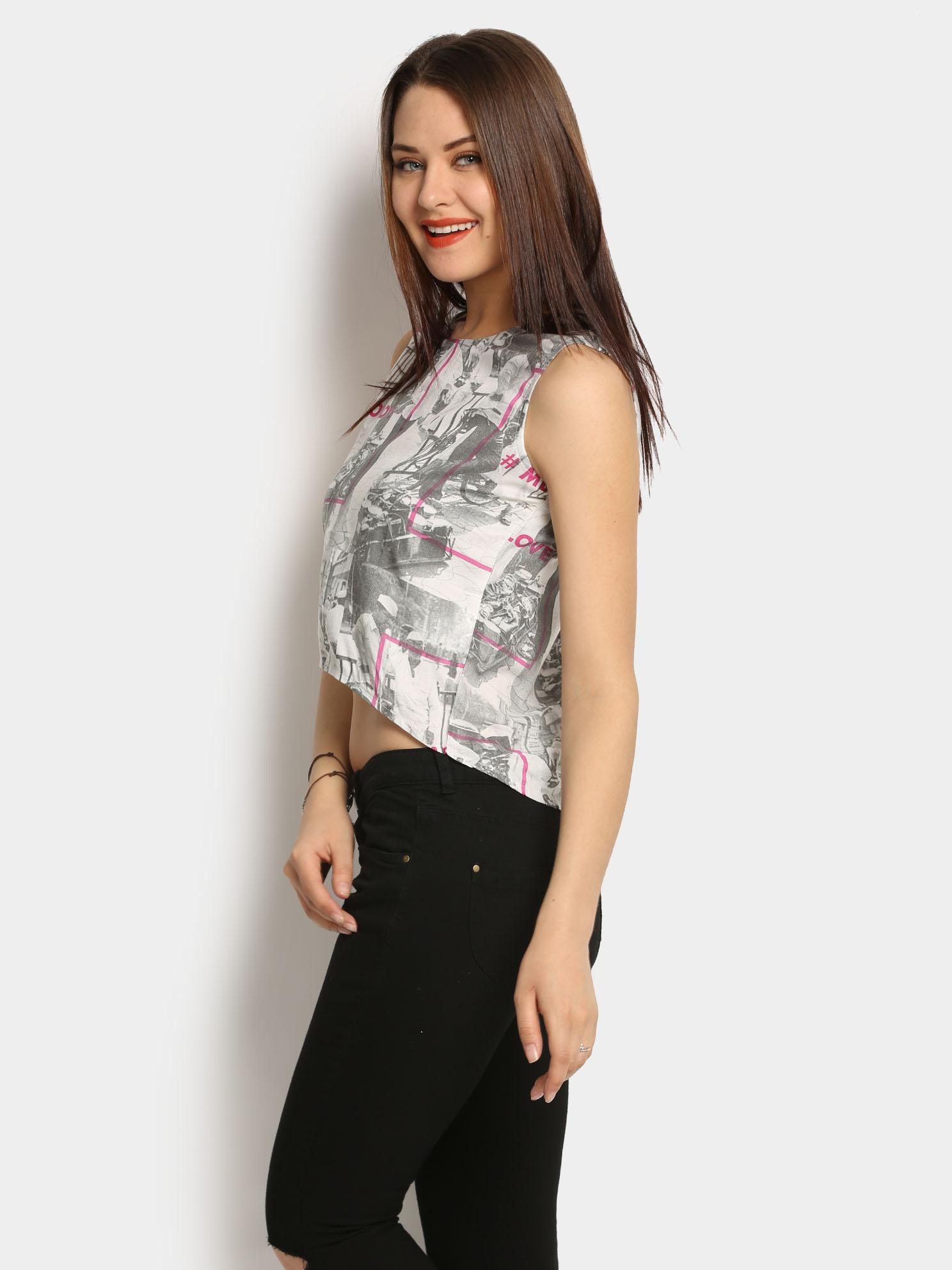 Akkriti by Pantaloons Women White Liva Printed Regular Fit Crop Top