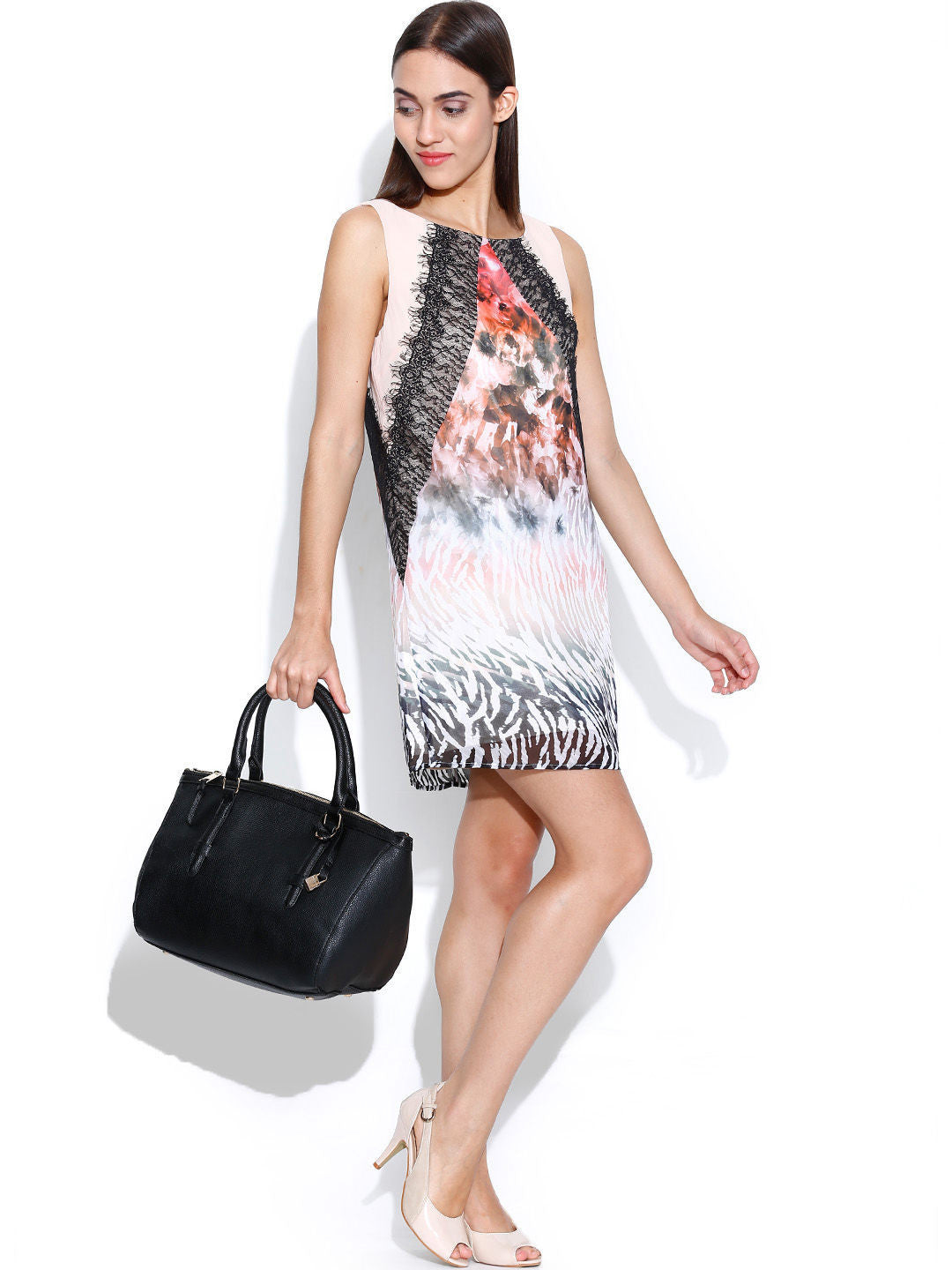 Bebe Multicoloured Printed Panelled Shift Dress