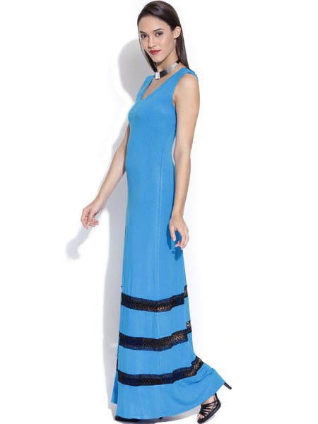 Bebe Blue Maxi Dress with Lace Detail