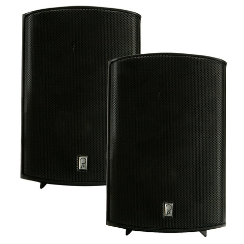"PolyPlanar Compact Box Speaker - 7-11/16"" x 5-1/8"" x 4-11/16"" - (Pair) Black"