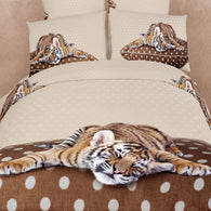 Twin Size Duvet Cover Sheets Set, Sleepy Tiger