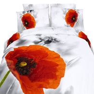 Twin Size Duvet Cover Sheets Set, Poppies