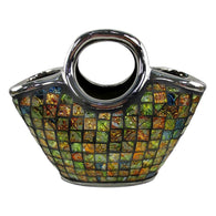 "Purse Decorative Ceramic & Glass Floral Vase, 10 3/4"" x 5 1/4"" x 9.5""(H)"
