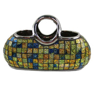 "Decorative Ceramic & Glass Purse Floral Vase, 11.5"" x 5.5"" x 7.5""(H)"