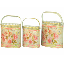 French country planters vintage metal decorative containers & flower pots SET OF 3