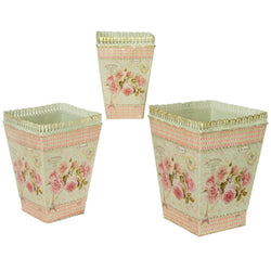 French country planters square vintage metal decorative vases & flower pots SET OF 3