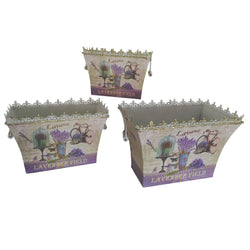French country planters rectangular vintage metal decorative vases & flower pots SET OF 3