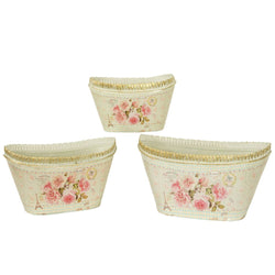 French country planters oval vintage metal decorative vases & flower pots Mela SET OF 3