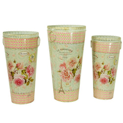 French country planters tall cylinder vintage metal decorative vases & umbrella holder SET OF 3