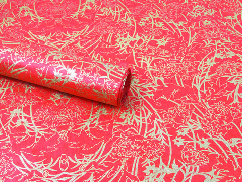 Bamboo Bush Design on Red Lokta Paper Sheet Handmade Gift Wrap