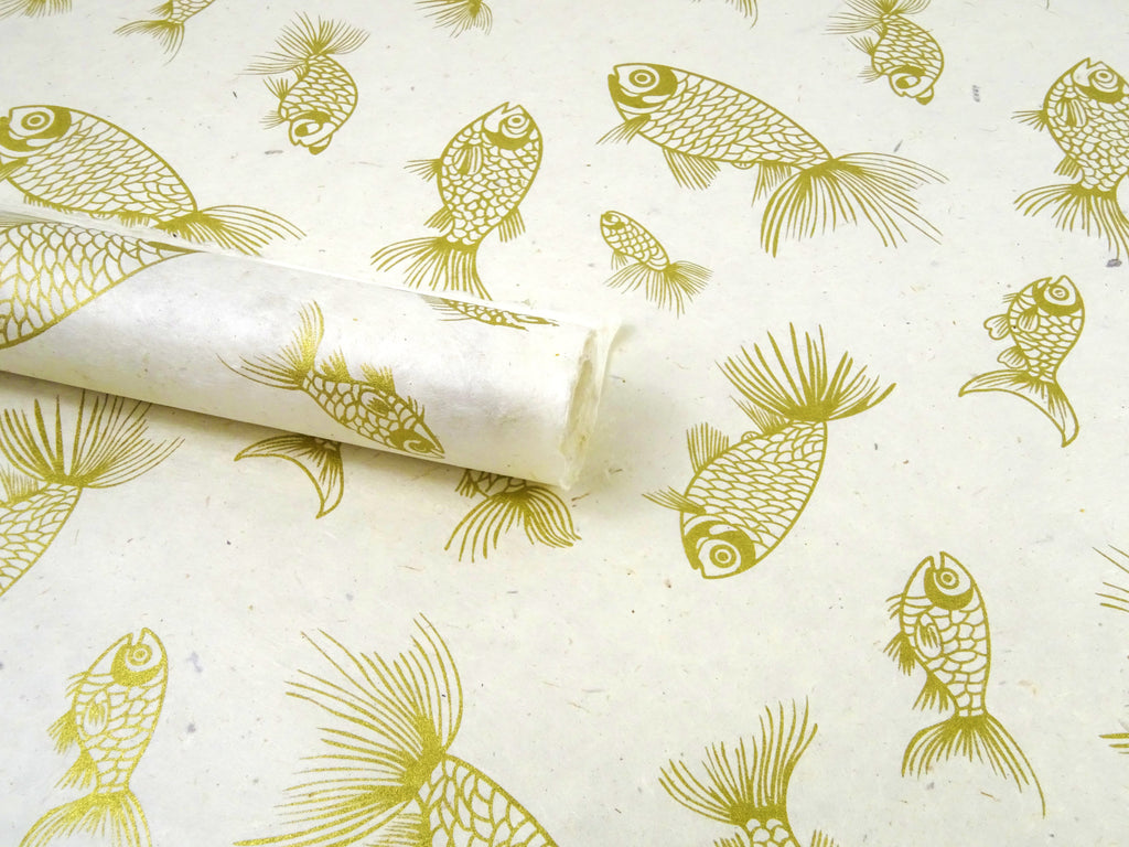 Koi Fish Design on Natural Lokta Paper Sheet, Himalayan Handmade Gift Wrap, 50x75cm