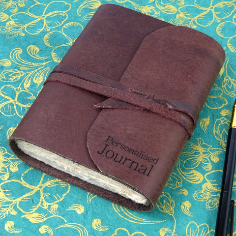 Personalised Engraved Leather Journal, Notebook, Travel Journal, Natural Lokta pages, Boxed Option