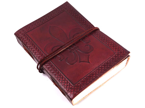 Fleur-De-Lis Leather Journal, Notebook, Handmade, Cotton Rag Pages, 135 x 185mm