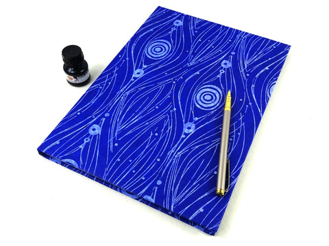 A4 Peacock Blue and White Sketchbook Journal with Cartridge Paper
