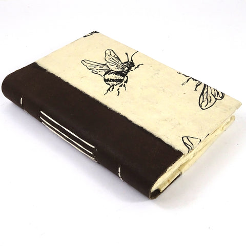 Bee Notebook/Journal with Water Buffalo Leather Bind