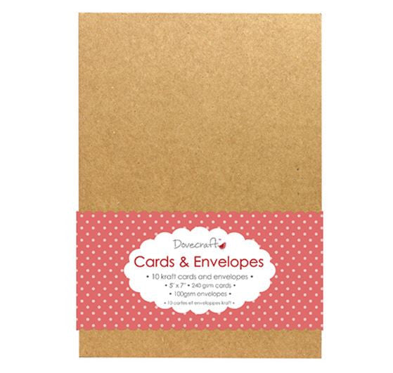 5''x7'' Kraft Cards & Envelopes, Set of 10