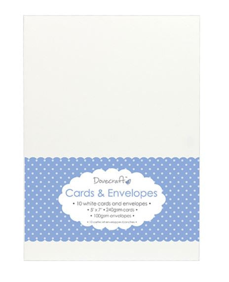 "5""x7"" White Cards and Envelopes, Set of 10"