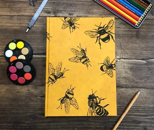 A4 'Bee' Yellow Sketchbook Journal with Cartridge Paper