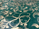 Deep Green Gold Flower Handmade Lokta Paper Sheet, for Gift Wrap, Collage, Scrapbooking 50x75cm