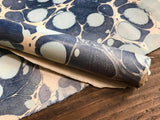 Blue and White Handmade Marbled Sunn Hemp Fibre Paper