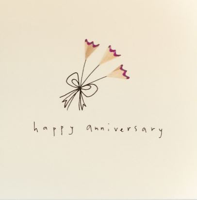 Pencil Shaving Card, 'Happy Anniversary'