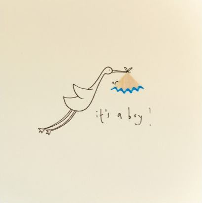 Pencil Shaving Card, Baby Boy Stork
