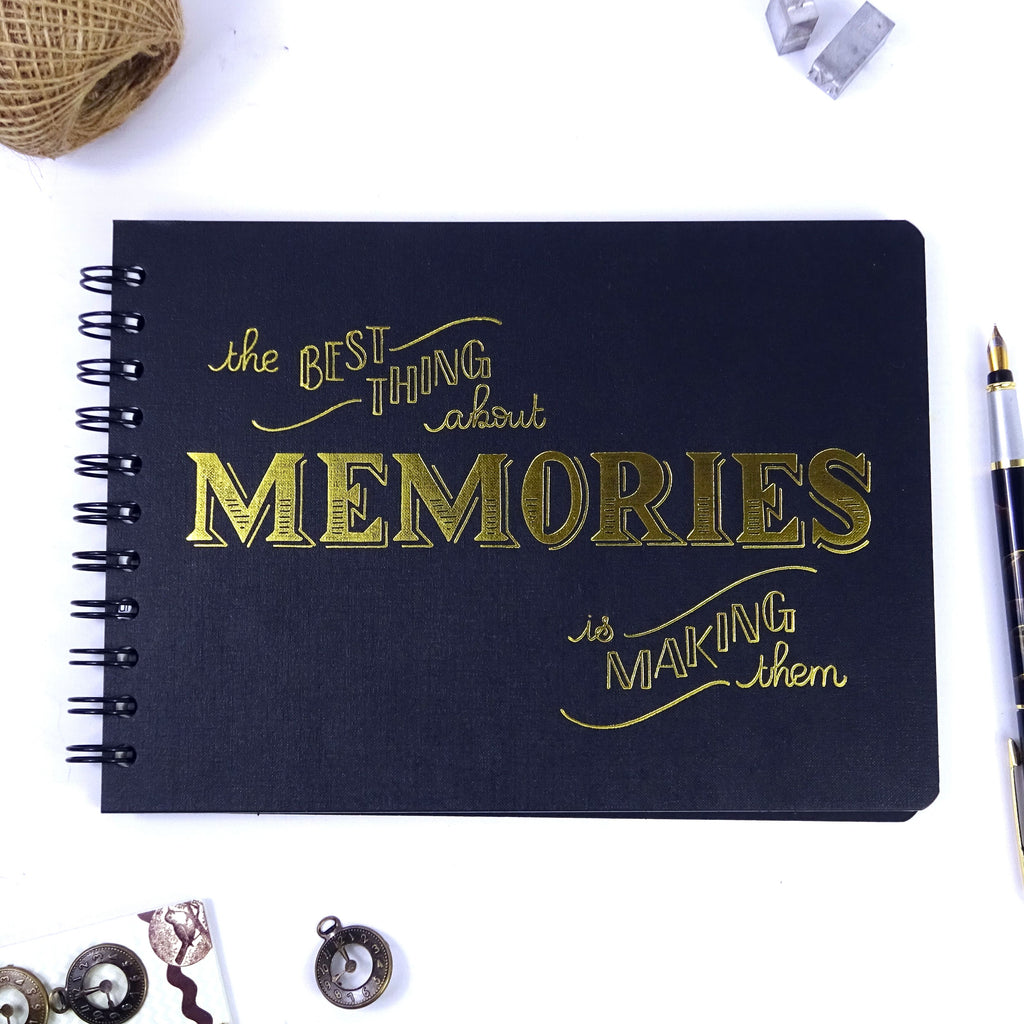 A5/A4 'Best Memories' Scrapbook Photo Album Guest Book, Black Cover with Gold Embossing,