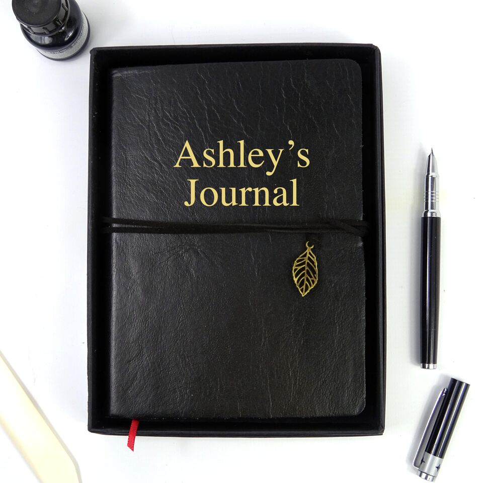 Personalised Black Leather Journal, Sketchbook, Journal, Diary with Plain Cartridge Pages