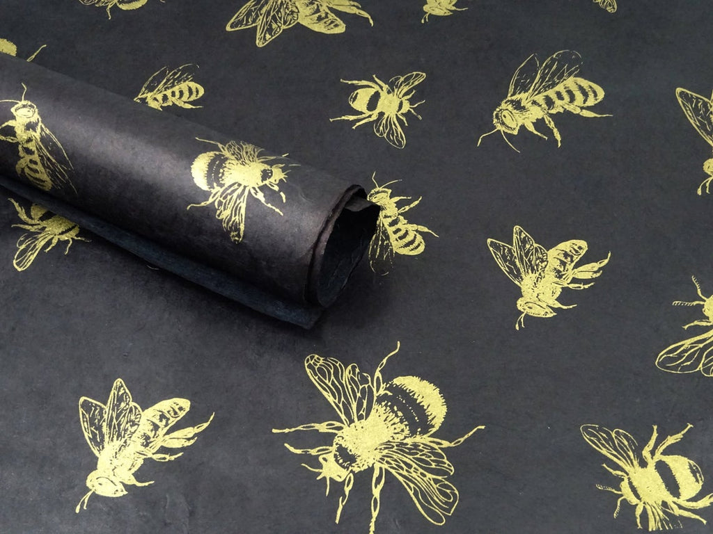 Gold Honey Bees on Black, Himalayan Nepalese Lokta Paper Sheet, Handmade Gift Wrap, 50x75cm