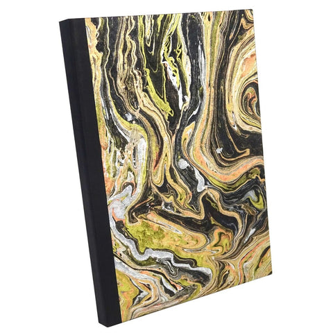 Black Gold Marble Paper, Notebook Sketchbook Bullet Journal, A5 Perfect Bound, Optional Inside Pages, Handmade
