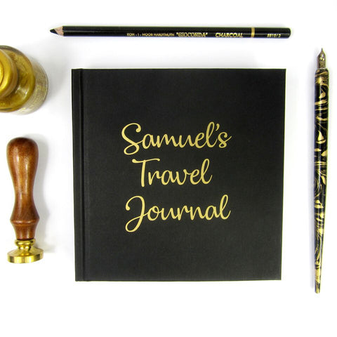 Personalised Black Square Sketchbook/Notebook/Travel Journal with Gold Lettering