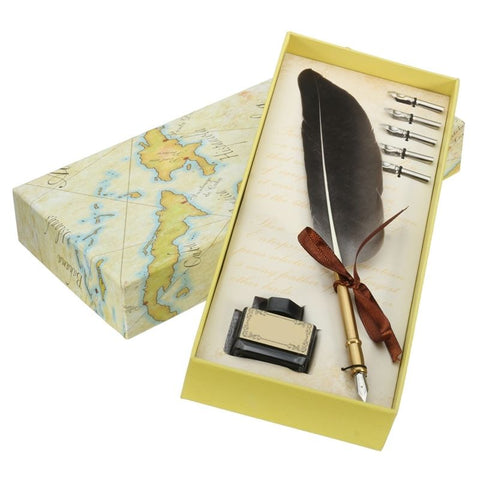 Black Antique Quill Feather Dip Pen 5 Nibs Set Gift Box Quill Pen Fountain Pen