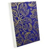 Blue Paisley Gold, Notebook Sketchbook Bullet Journal, A5 Perfect Bound, Optional Inside Pages, Handmade