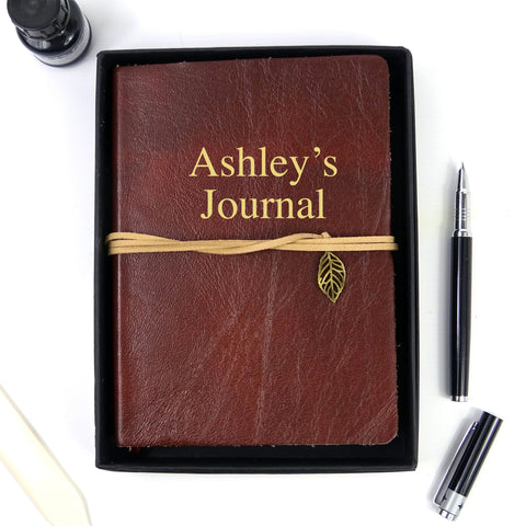 Personalised Burnt Umber Brown Leather Journal, Sketchbook, Journal, Diary with Plain Cartridge Pages