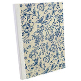 White Blue China Flower, Notebook Sketchbook Bullet Journal, A5 Perfect Bound, Optional Inside Pages, Handmade