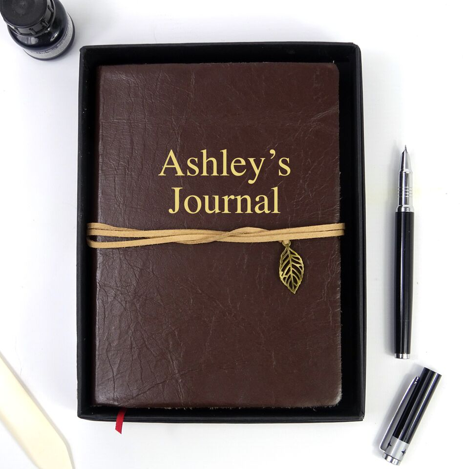Personalised Chocolate Brown Leather Journal, Sketchbook, Journal, Diary with Plain Cartridge Pages