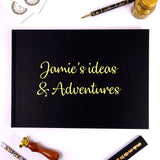 Personalised Black A4/A5 Landscape Sketchbook/Scrapbook with Gold Lettering
