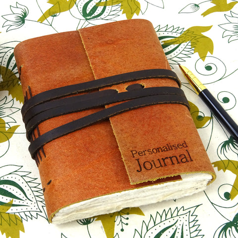 Personalised Engraved Tan Leather Notebook, Travel Journal , Natural Lokta pages, Boxed Option