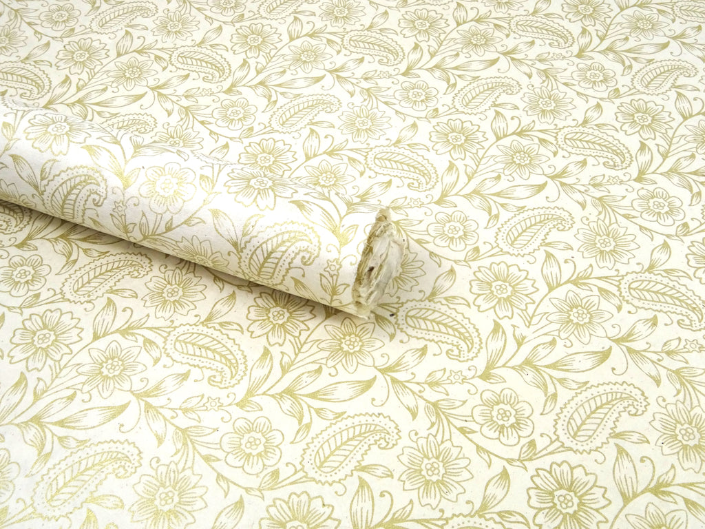 Golden Garden Paisley Design on Natural Lokta Paper Sheet, Handmade Gift Wrap 50x75cm