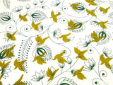 Birds and Floral Design, Himalayan Nepalese Lokta Paper Sheet, Handmade Gift Wrap, 50x75cm