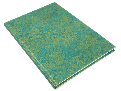 A4 Rainforest Green and Gold Sketchbook Journal with Cartridge Paper