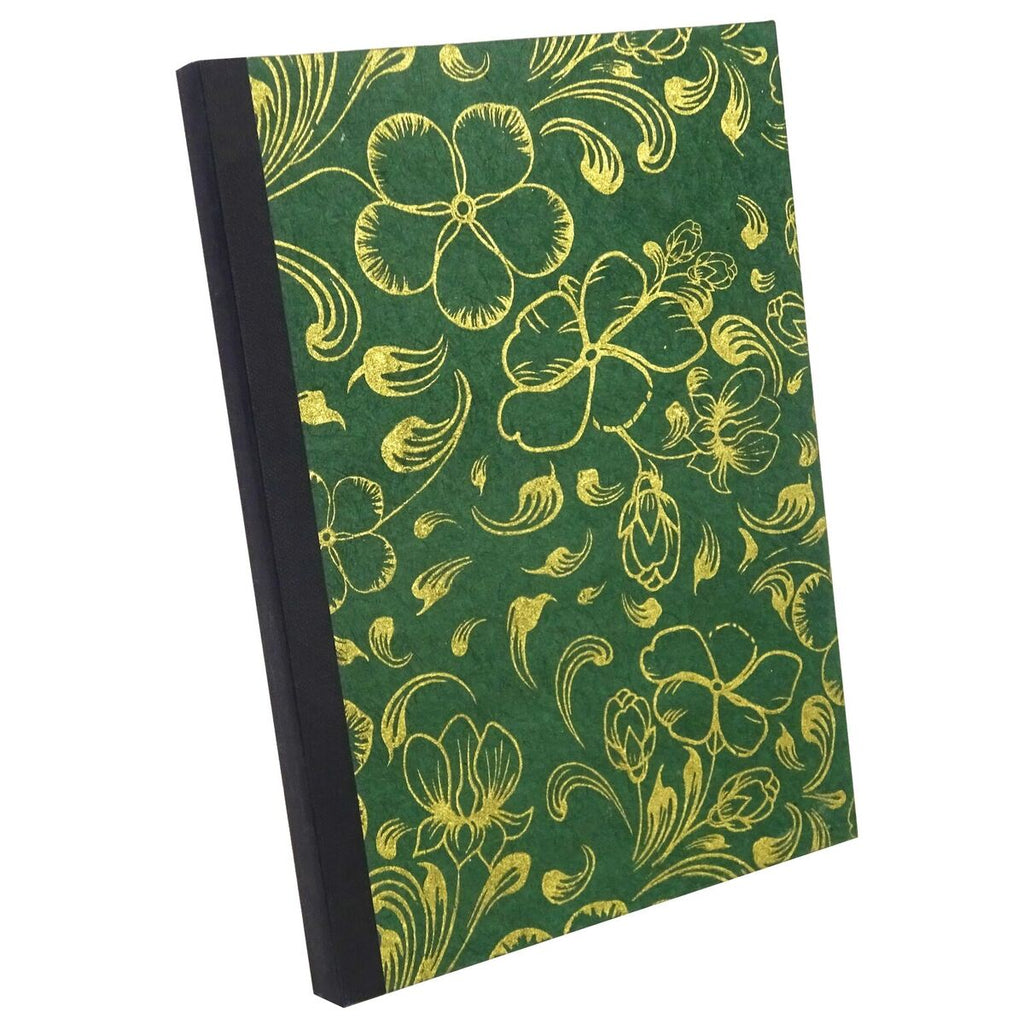 Deep Green Gold Flower, Notebook Sketchbook Bullet Journal, A5 Perfect Bound, Optional Inside Pages, Handmade